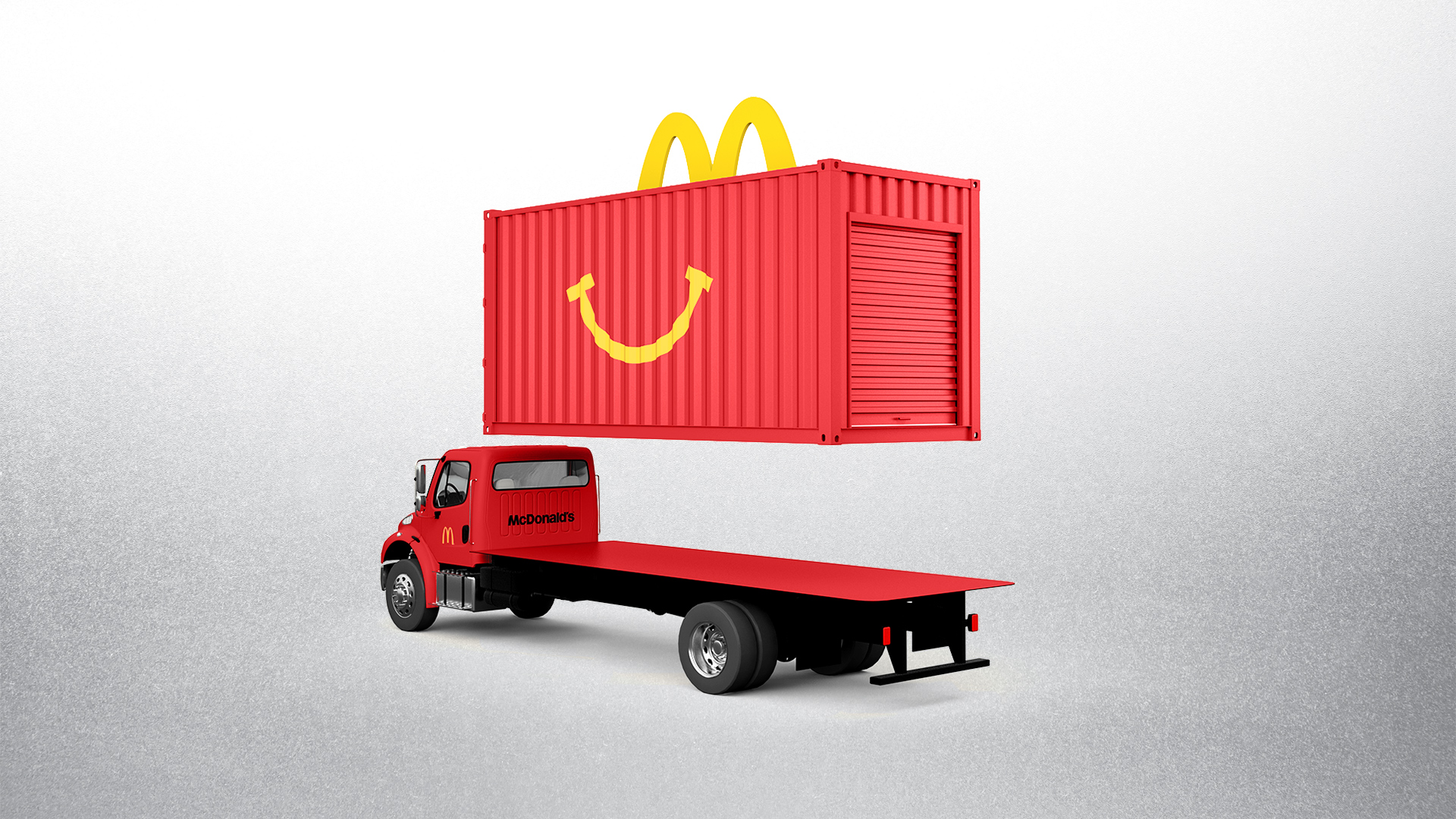 McDonald's Happy Meal Red 20' Shipping Container on Truck Exploded View